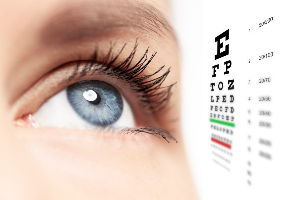 Woman blue eye with eye chart